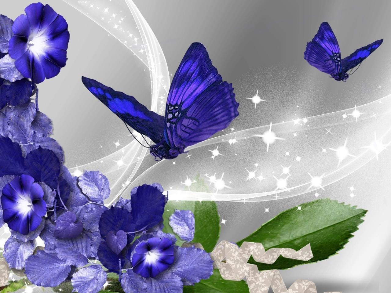 Nature Hd 3d Wallpapers 1080p Widescreen Pictures Of Blue Flowers And Butterflies With Abstract