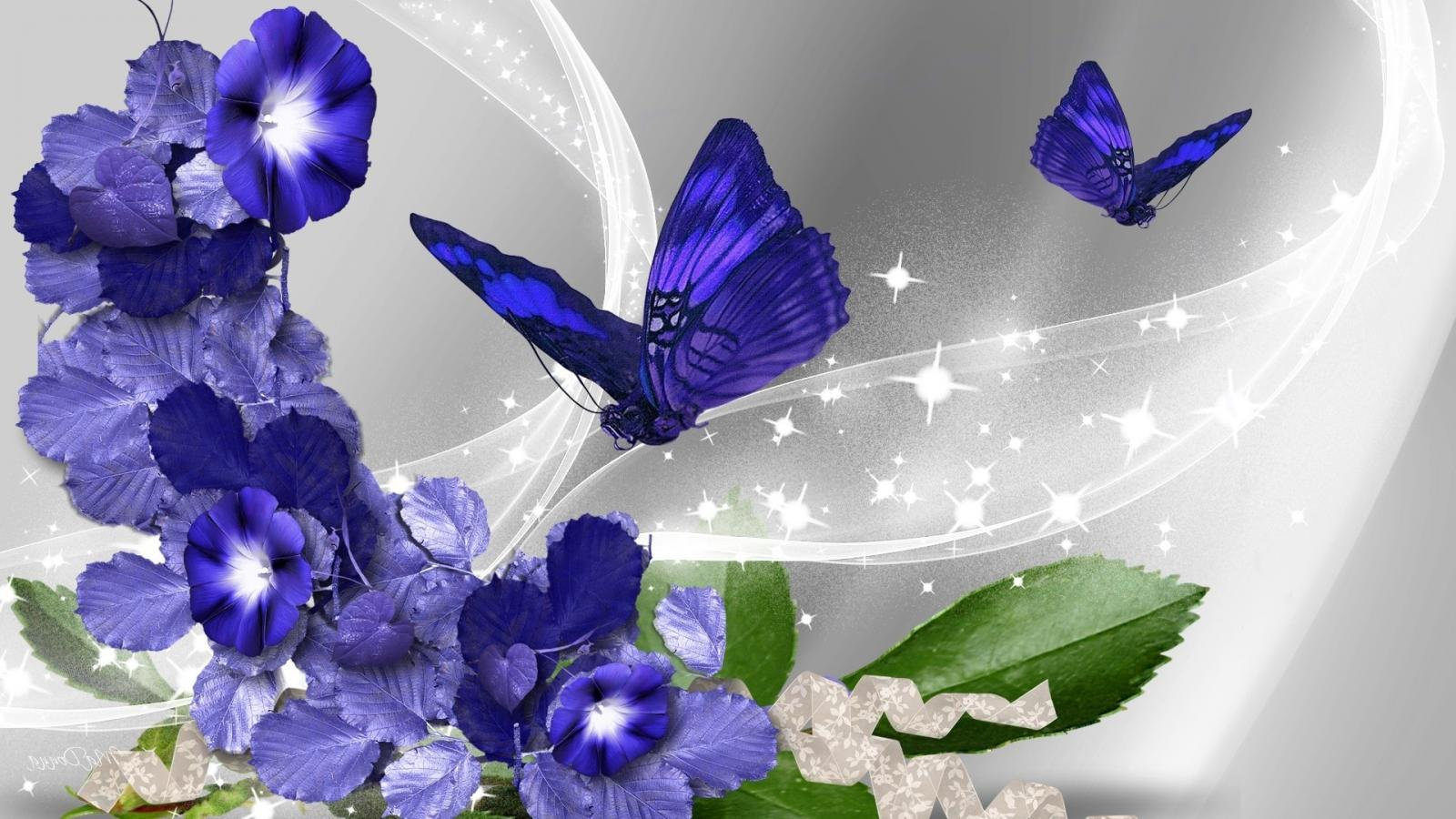 Free Desktop Animated Wallpaper Download Pictures Of Blue Flowers And Butterflies With Abstract
