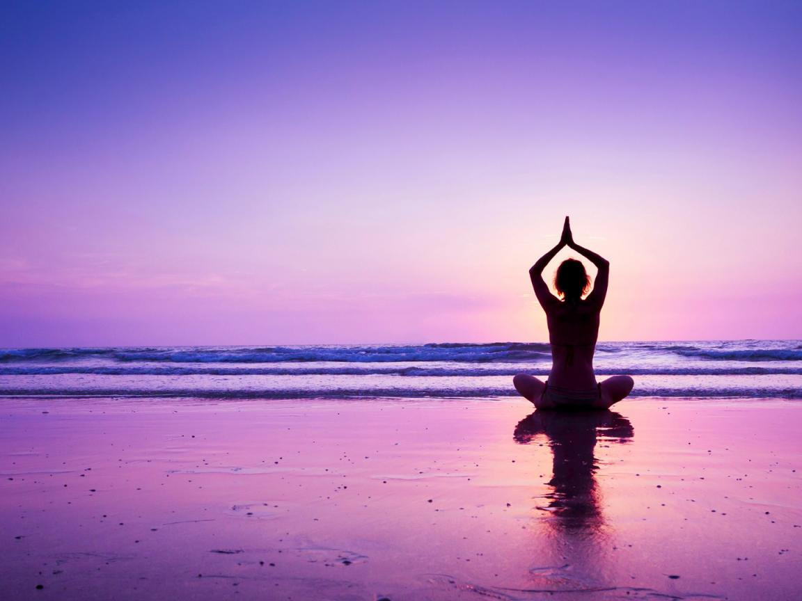 Girl Silhouette Wallpaper Yoga Wallpaper With Girl In A Purple Sunset At Beach Hd