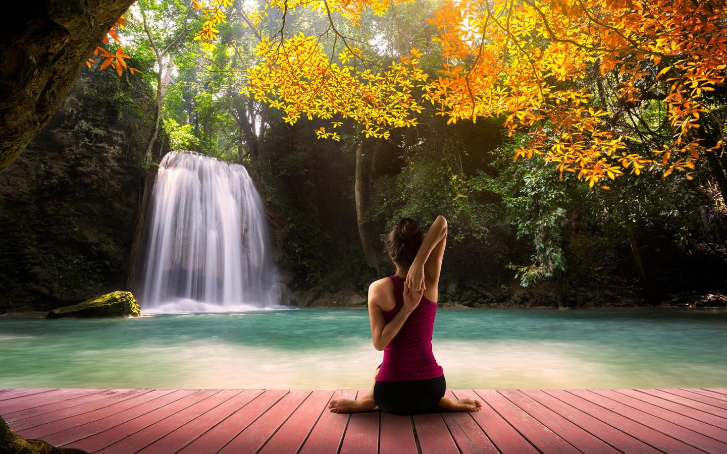 Grayscale Girl Wallpaper Yoga Girl Picture With Autumn Waterfall Background Hd