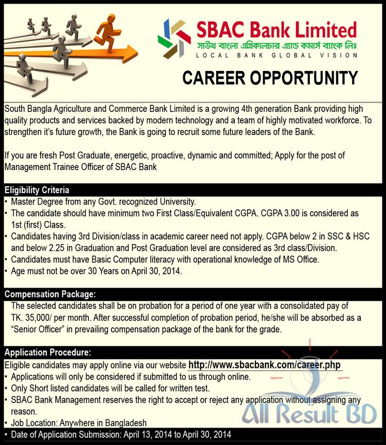 SBAC Bank job circular