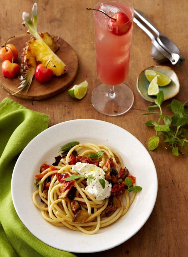 Eggplant Rollitini Pasta & Fruit Punch in a Pinch