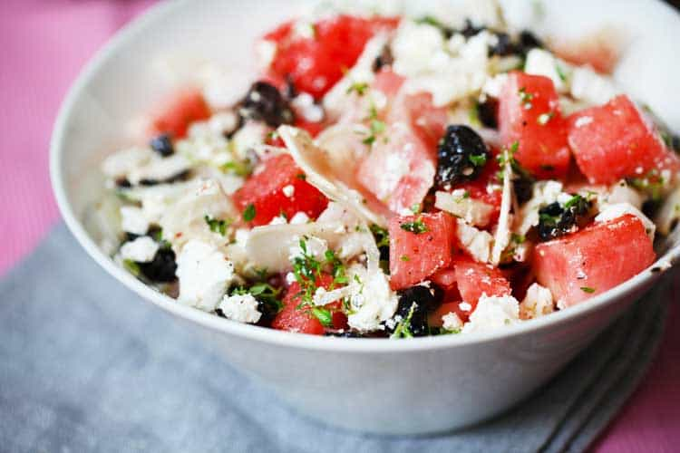 salad with watermelon, feta cheese and black olives