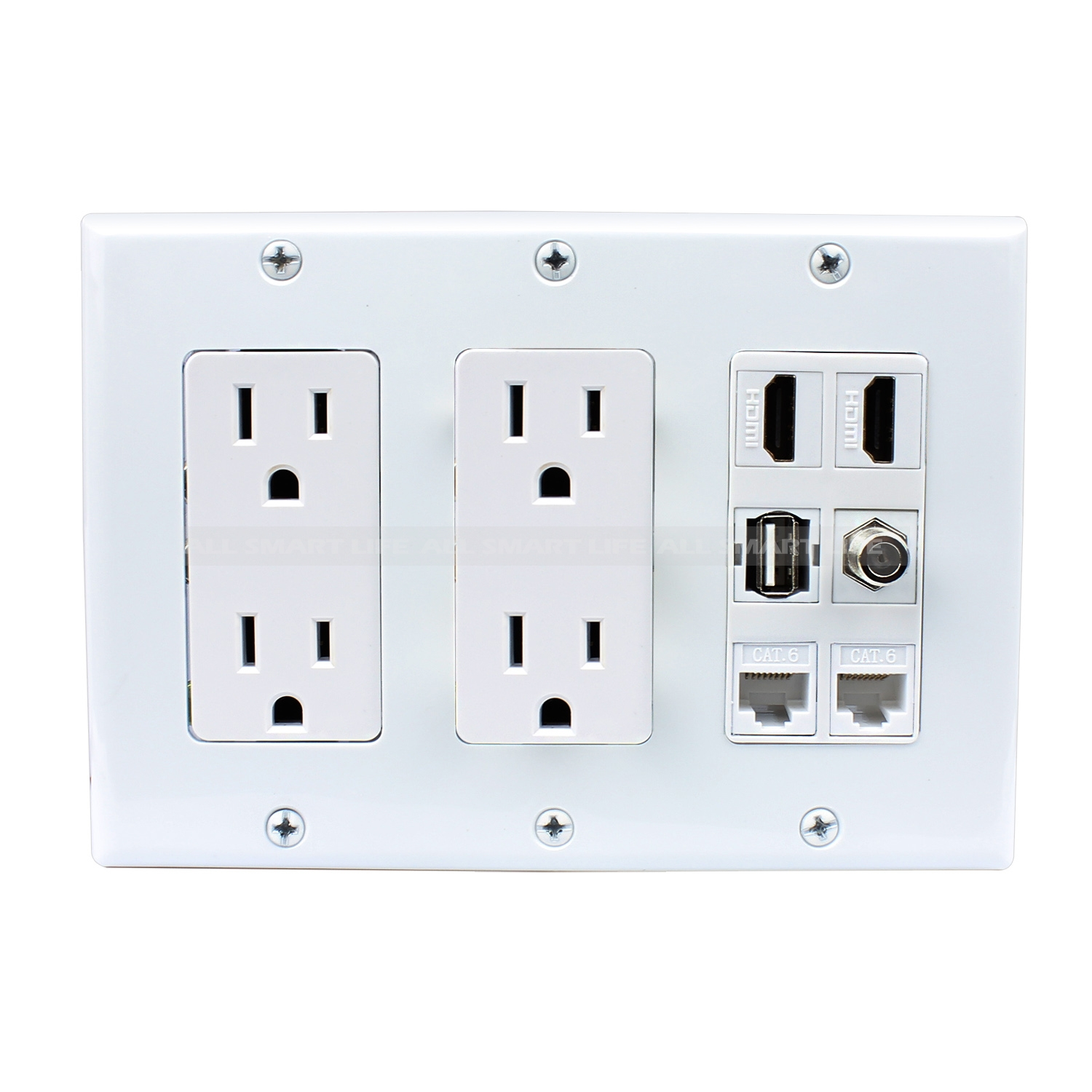 Hdmi Outlet Multipurpose Design 2 Gang 2x Power Outlet 2x Hdmi 1x Usb 2x Cat6