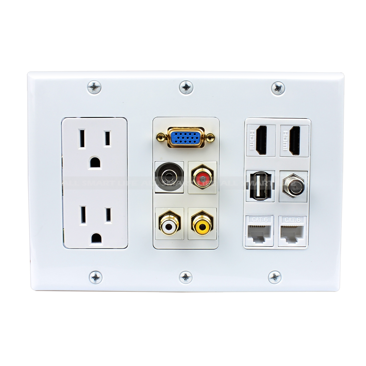 Hdmi Outlet Multipurpose Design 2x Power Outlet 2x Hdmi 1x Usb 3x Rca 2x Cat6