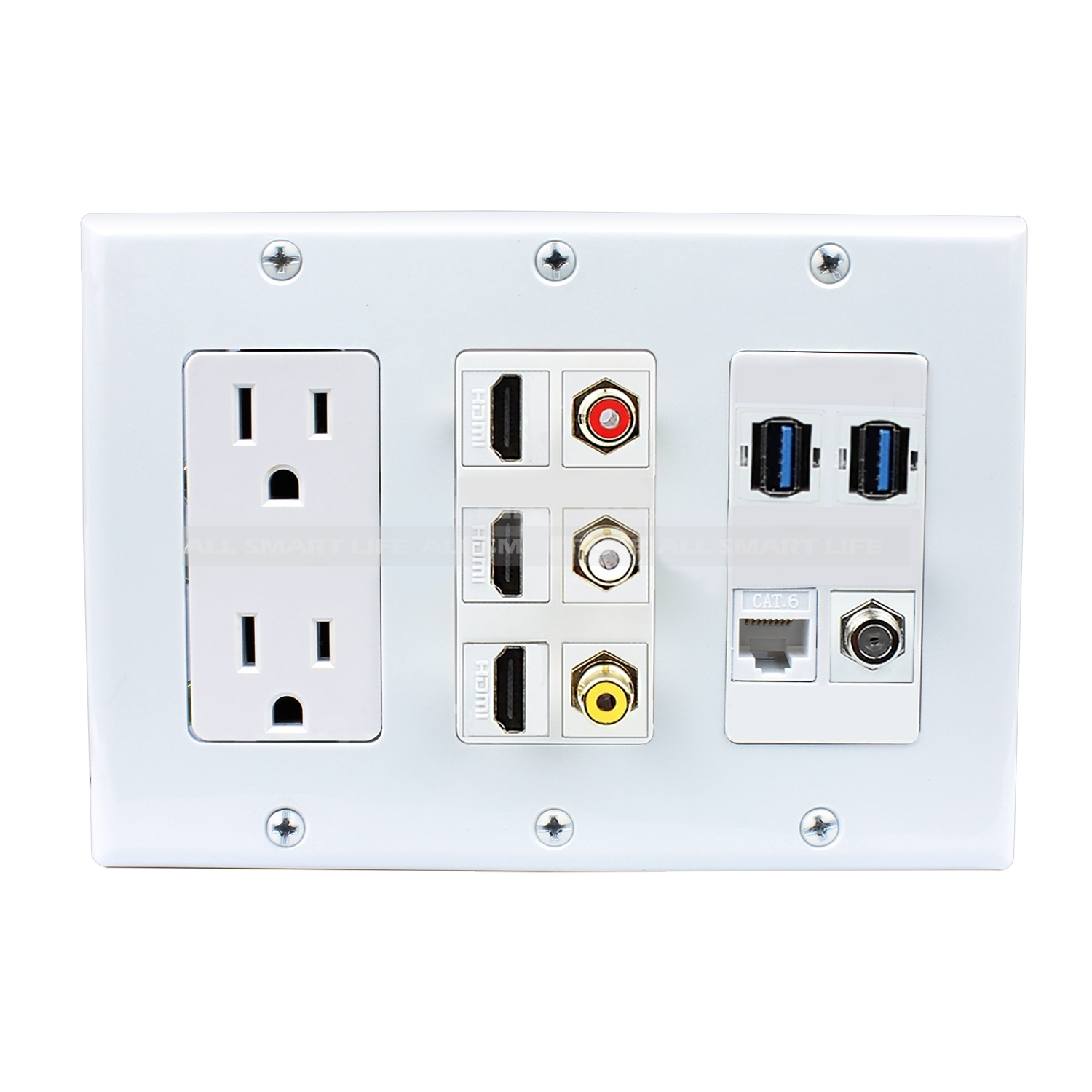 Hdmi Outlet Multifunctional Combination 2xpower Outlet 3x Hdmi 3x Rca 2x Usb