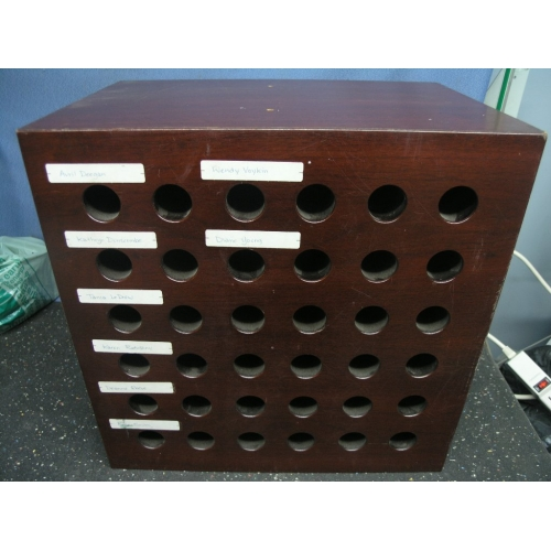 Black Doors Wooden Office Pigeon Hole Message / Mail Sorter - Allsold