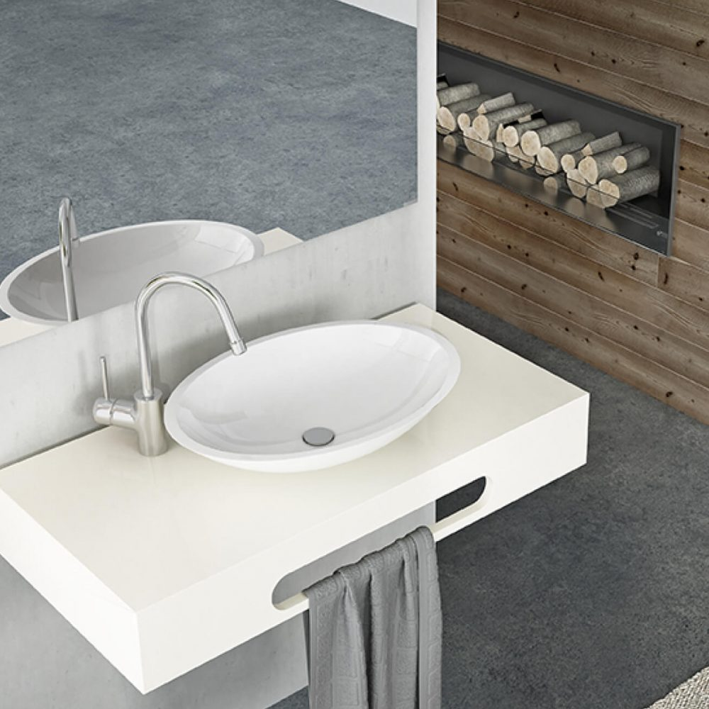 Lavabo Sobre Encimera Pequeño Solid Surface Allstone Innovation In Shower Trays