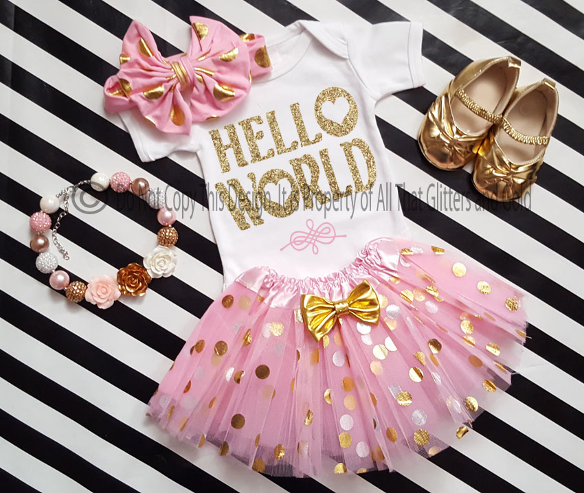 Cute Glitter Gold Clothing For Babies - Funny Onesies - Cute Baby