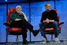 Walt Mossberg and Steve Jobs share a laugh at D5.