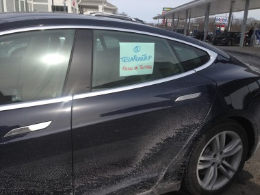 One of the Tesla S Road Trip cars, at a charging station in Milford, CT.