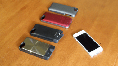 From left to right, the MyCharge Freedom 2000 (in gray and black), the Mophie Juice Pack Air and the Mophie Juice Pack Helium.