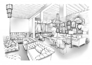 Rendering of The Battery's living room