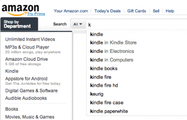 "Amazon is pretty darn sure that typing ""k"" means you're looking for a Kindle. Or at least that's what it's hoping."