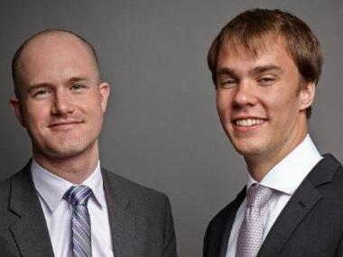 Coinbase co-founders Brian Armstrong (l) and Fred Ehrsam, sporting we-got-money grins.