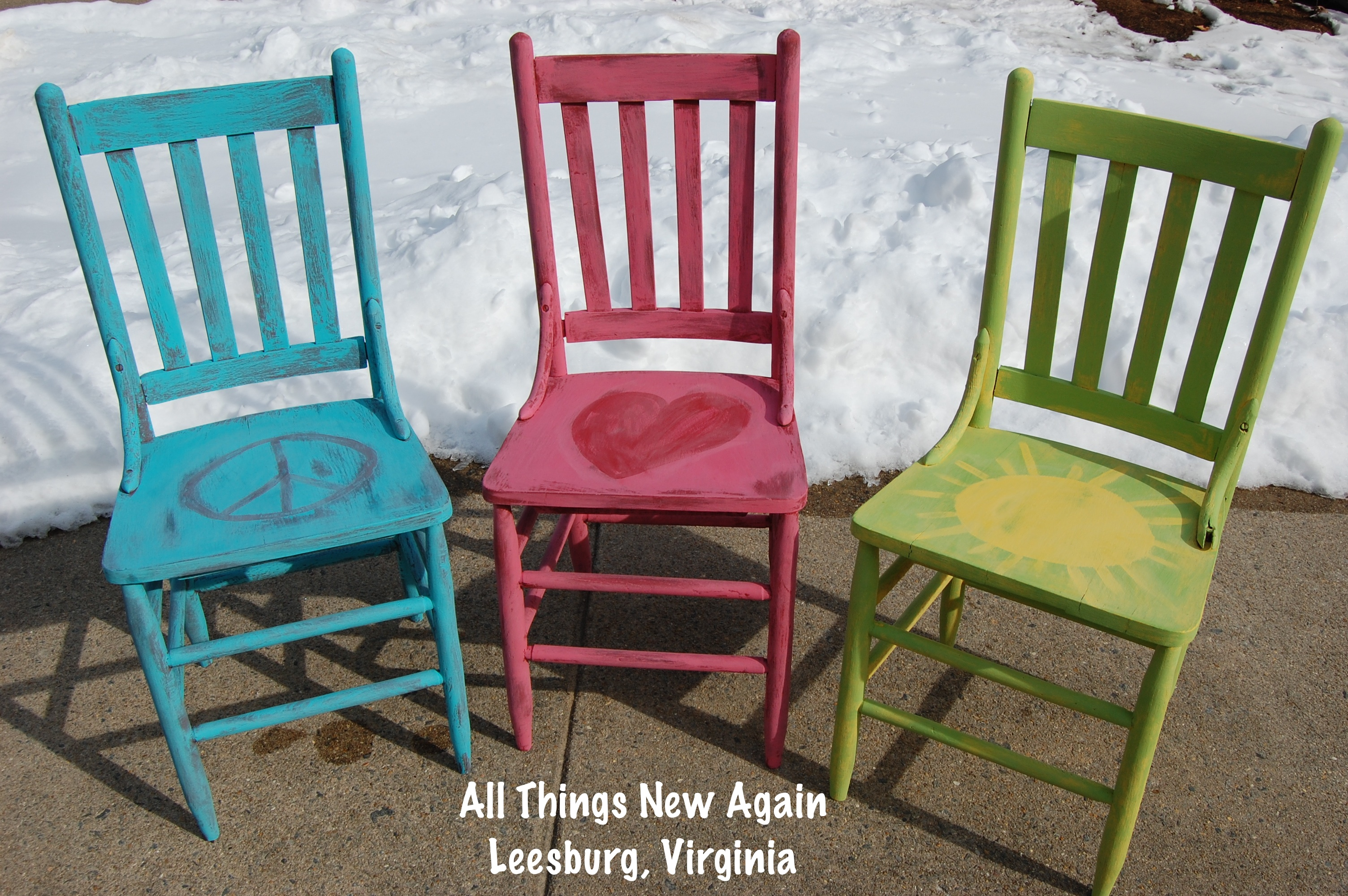 Peace Love And Sunshine Three Happy Little Garden Chairs For Spring All Things New Again