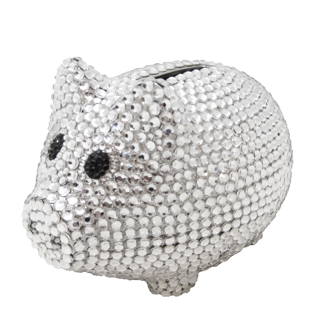 Silver Piggy Bank For Baby Anthony David Silver Coin Piggy Bank With Swarovski Crystal
