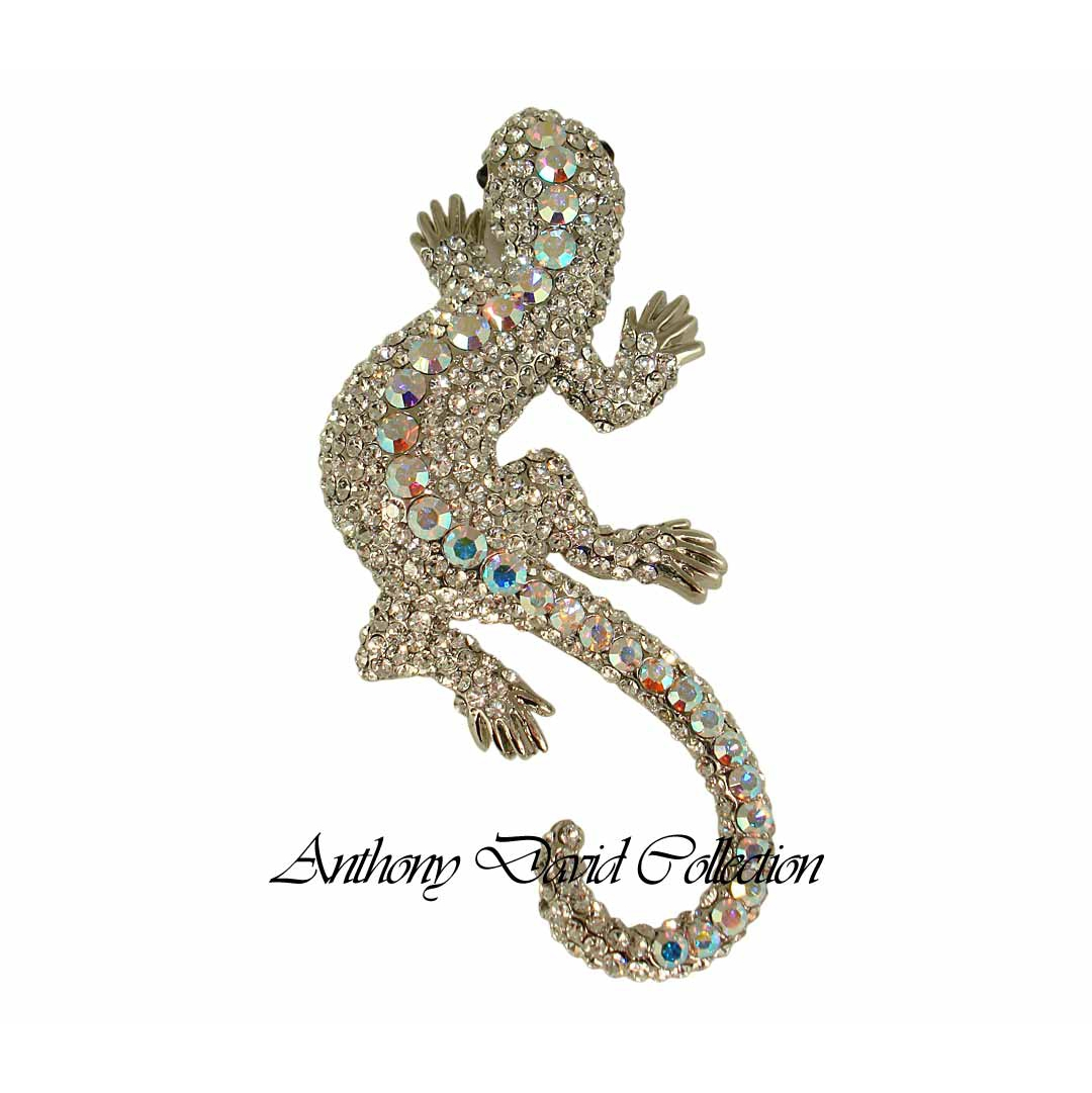 Baby Collection Silver Set Anthony David Brooch Pin With Swarovski Crystal Silver Gecko