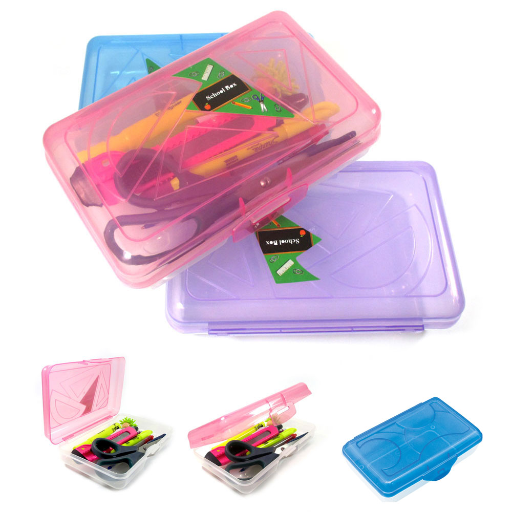 Stationary Boxes Details About 3 School Pencil Boxes Office Supplies Case Pen Art Craft Organizer Plastic Box