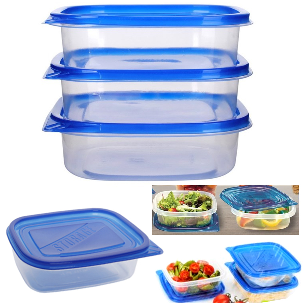 3 Pc Food Storage Container Set Lids Meal Prep Leftovers Bpa Free Plastic Dish Ebay