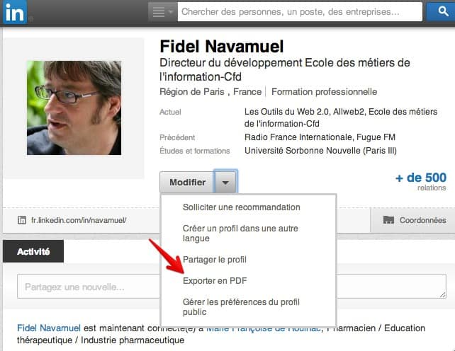 creer un cv sur base linkedin