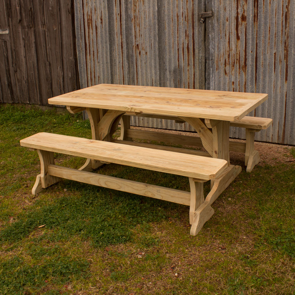 Patio Table Trestle Patio Table W 2 Benches