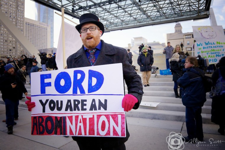 Protester at Toronto City Hall