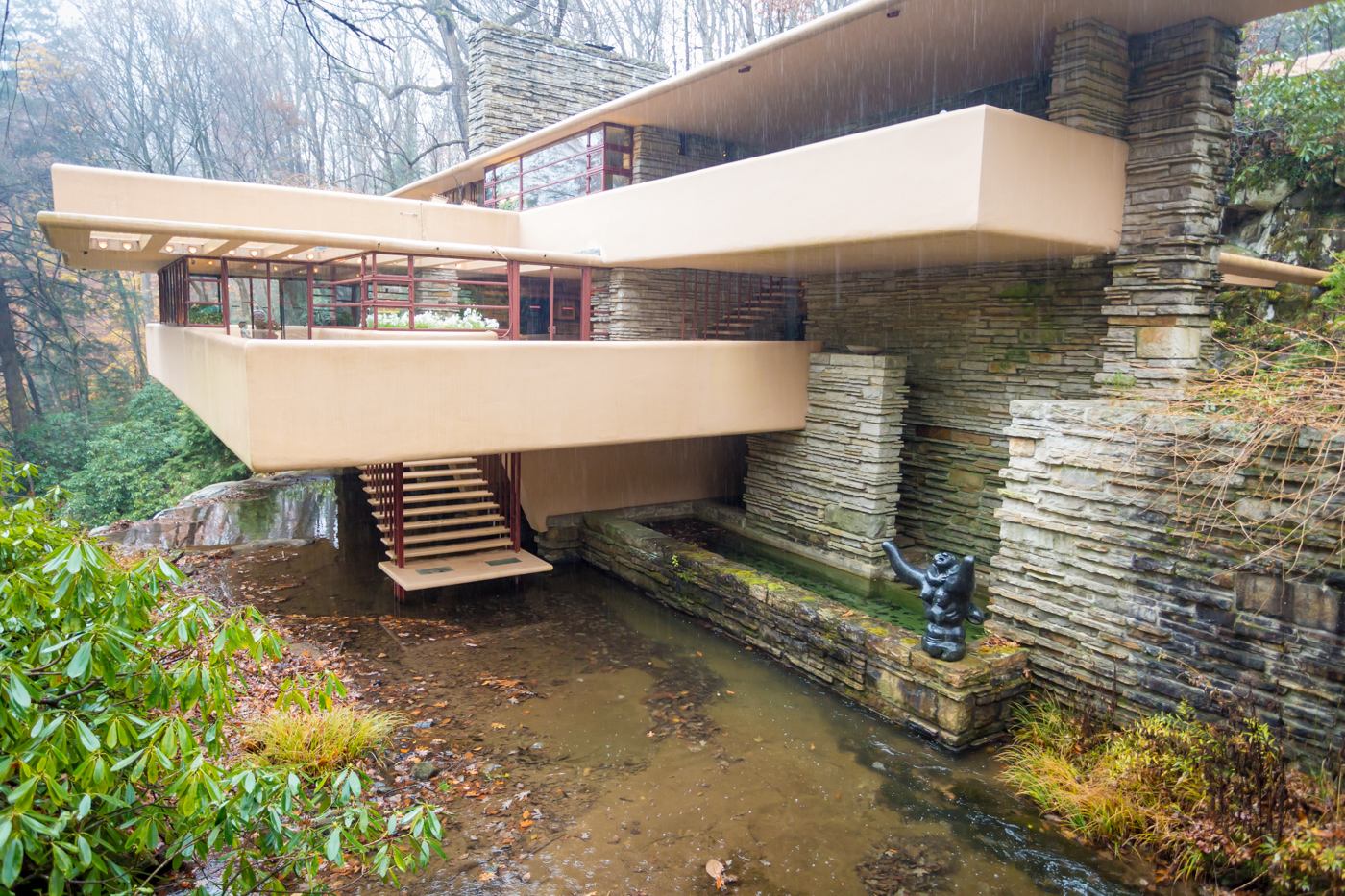 Fallingwater showing plunge pool and Lipchitz statue