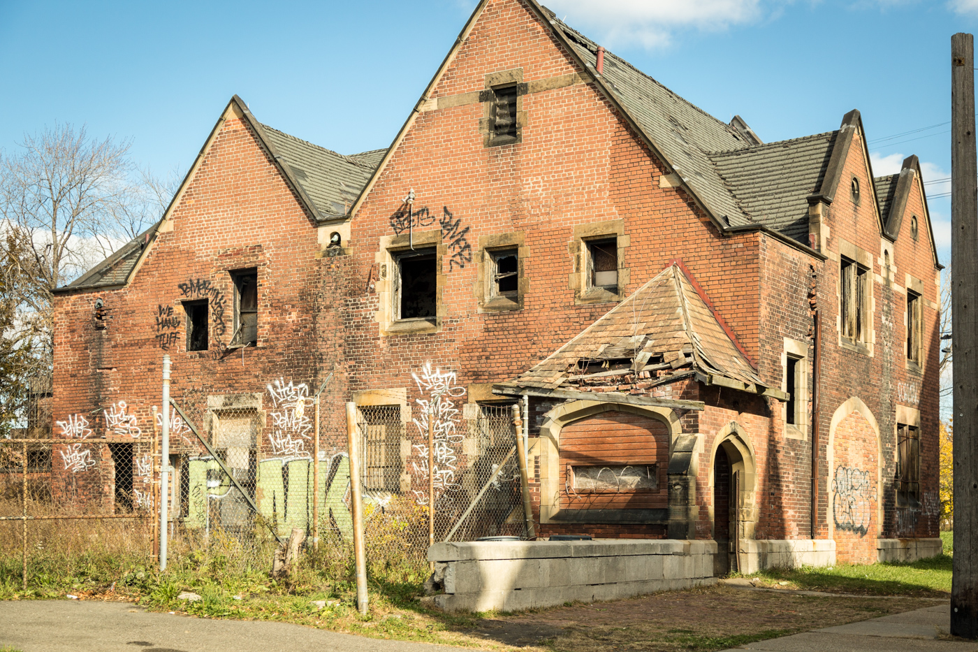 Derelict house in Brush Park, Detroit