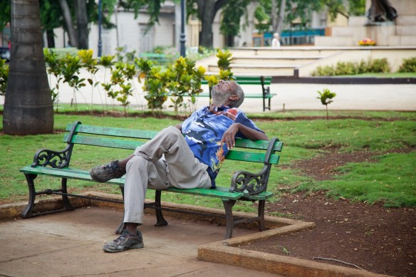 Cuban man napping in Matanzas
