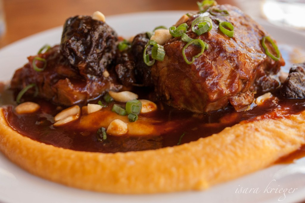 Pork; barbecue, sweet potato puree, prunes, $12