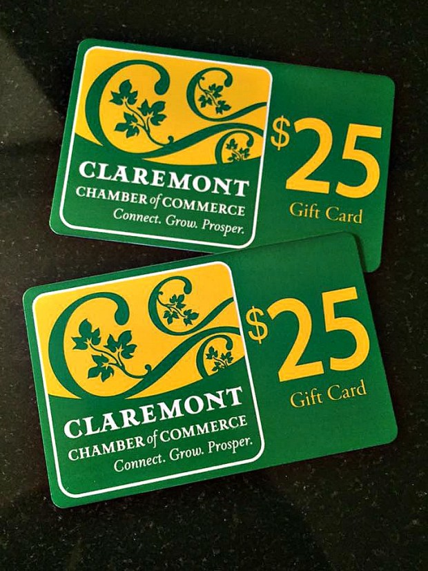 Claremont's gift cards are available in amounts of $25.