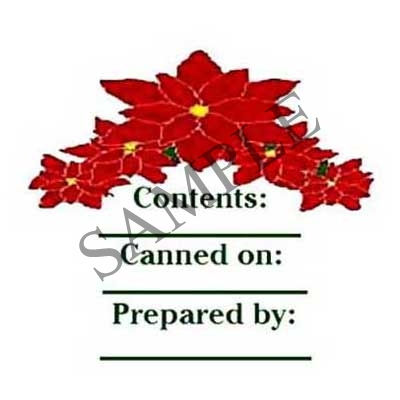 Poinsettia Round Canning Label #L121
