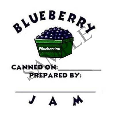 Blueberry Jam Round Canning Label #L128
