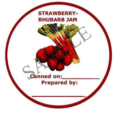 Strawberry Rhubarb Jam Round Canning Label #L160