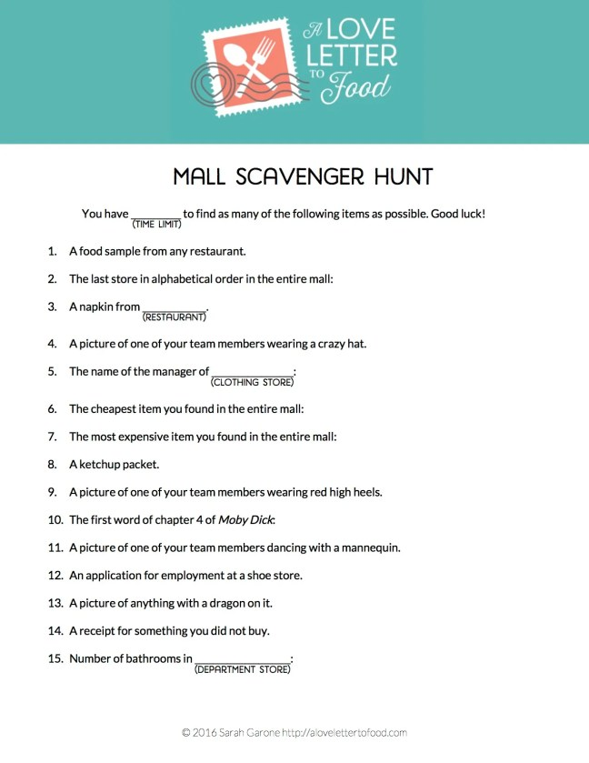 Mall Scavenger Hunt Free Printable copy