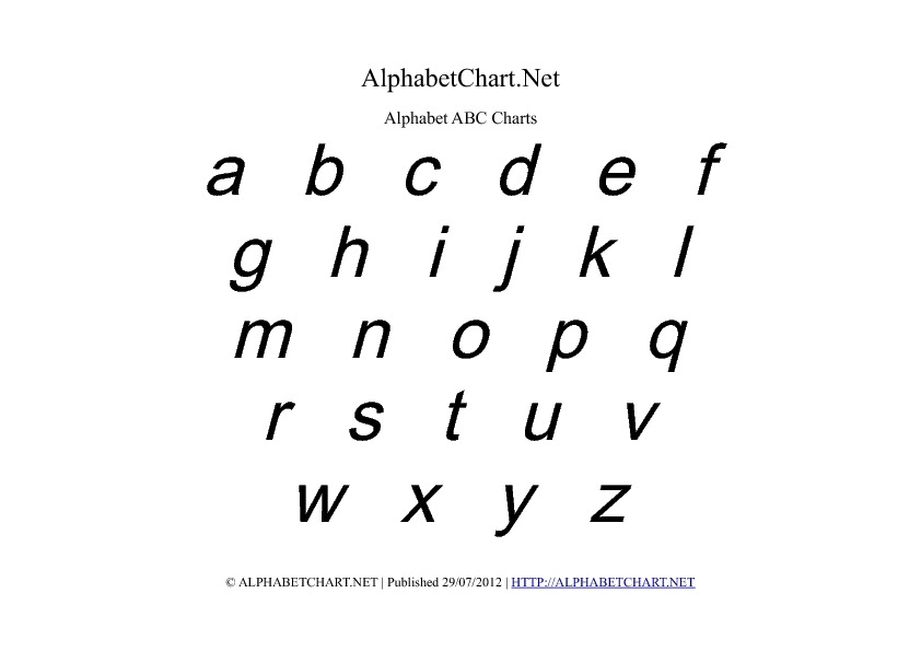 Lowercase Alphabet Charts in PDF ( Normal, Bold  Italic