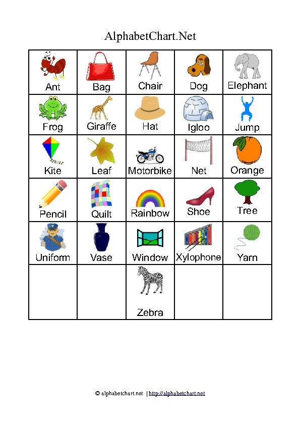 Alphabet chart printables for children Download free A4 PDF charts - word alphabets
