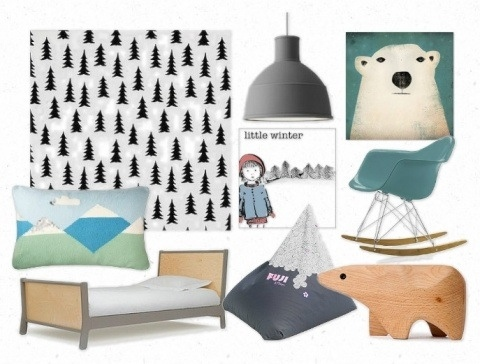winter inspired children's interior mood board by Hide and Sleep Interiors