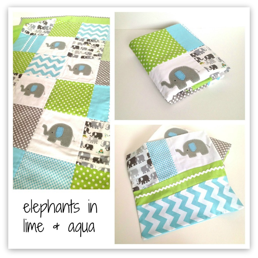 lime and aqua elephant quilt by alphabet monkey