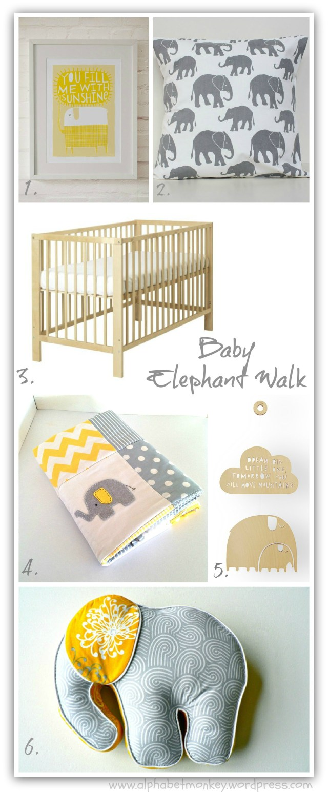Yellow and Grey elephant nursery trend.
