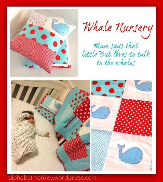 red and aqua whale nursery