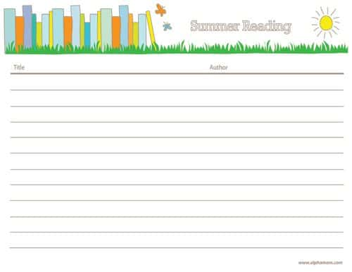 Summer Reading Reading Log and Online Resources Alpha Mom - Reading Log Template
