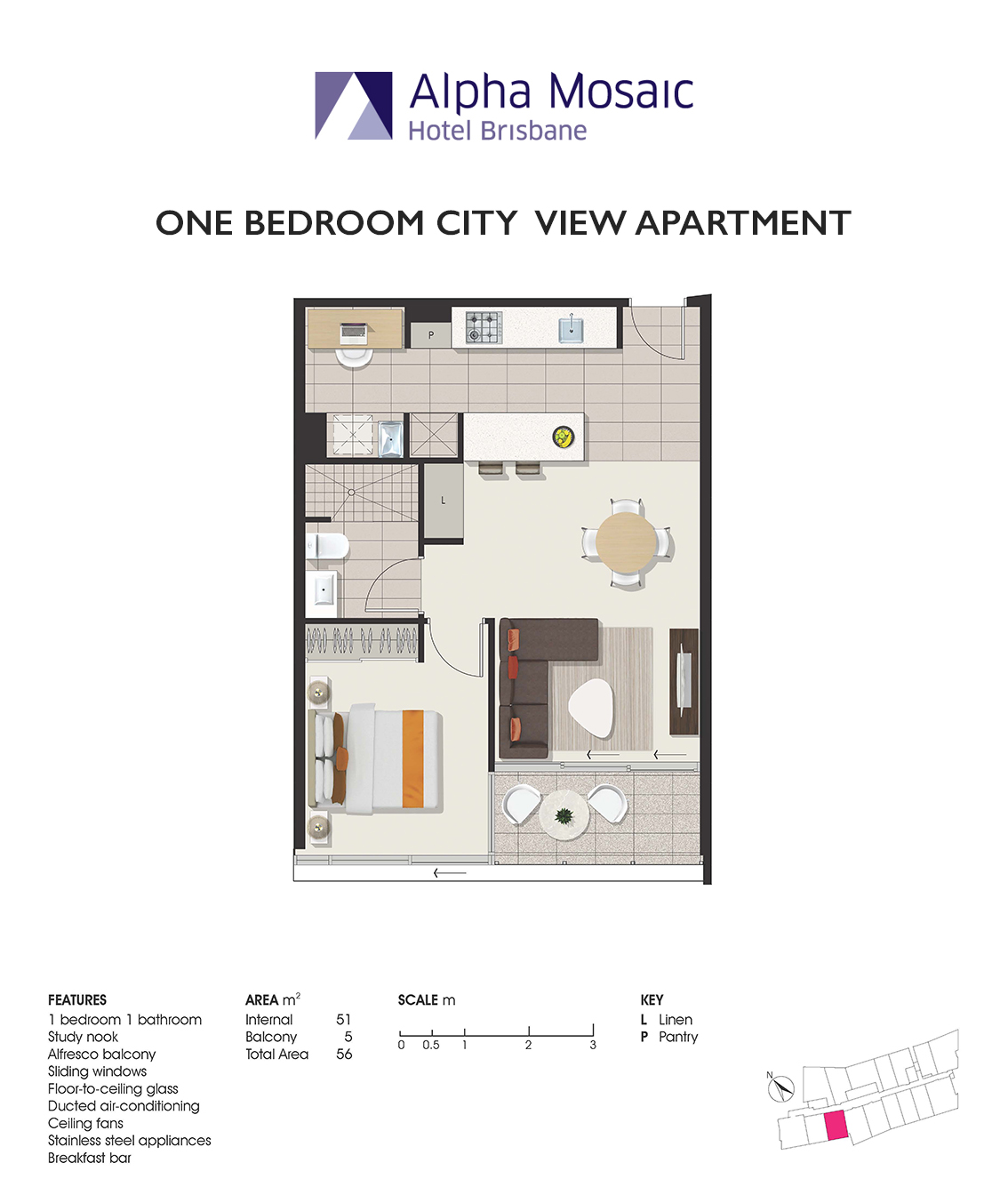 1 Bedroom Apartment Brisbane Apartment Accommodation Brisbane Alpha Mosaic Hotel Brisbane
