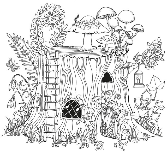 Creative Haven Whimsical Gardens Coloring Book COLORING PAGE 2 - best of crayola coloring pages autumn leaves