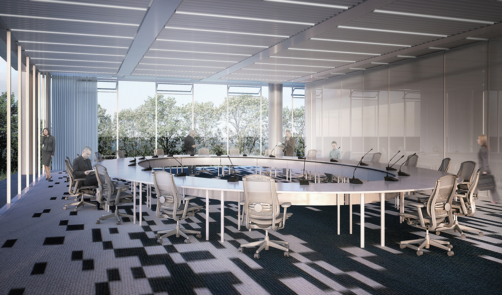 O plenário possui vistas amplas e é complementado por varanda e foyer.