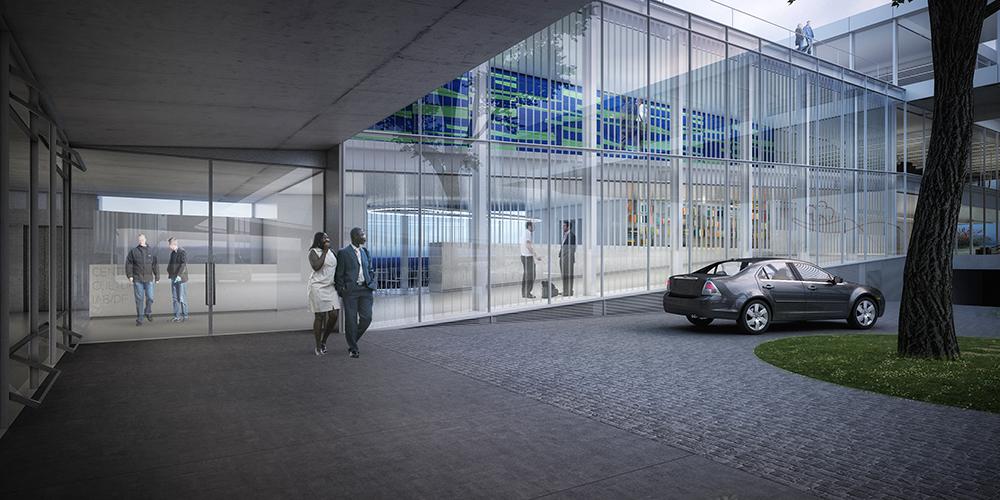 Área de desembarque do Centro Cultural, com loja e restaurante integrados à rampa de acesso peatonal ao fundo.