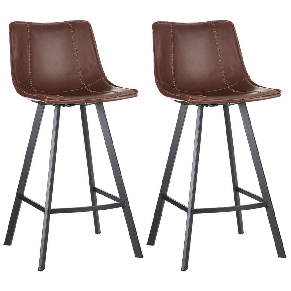 Altobuy Thecia Lot De 2 Tabourets De Bar Simili Marron Neuf Ebay