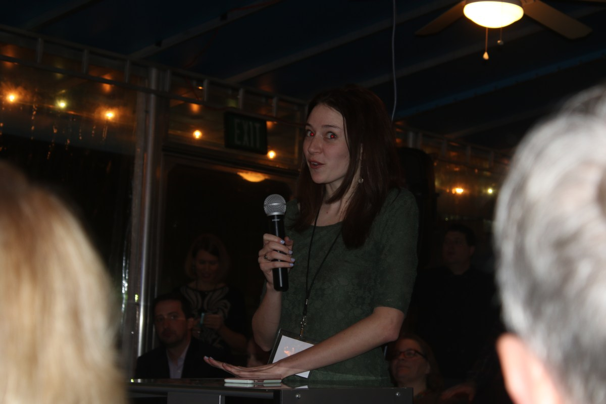 Madeline Will tells the crowd about why the Alumni Association created the award. Photo by Alex Kormann