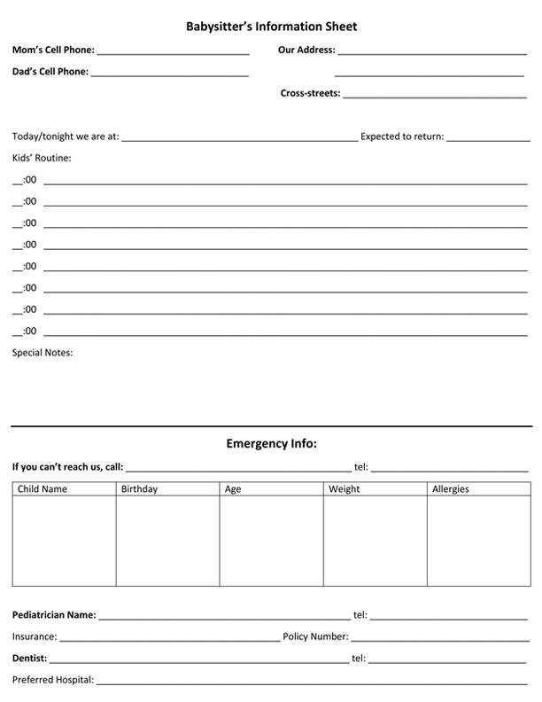 Babysitter Information Sheet